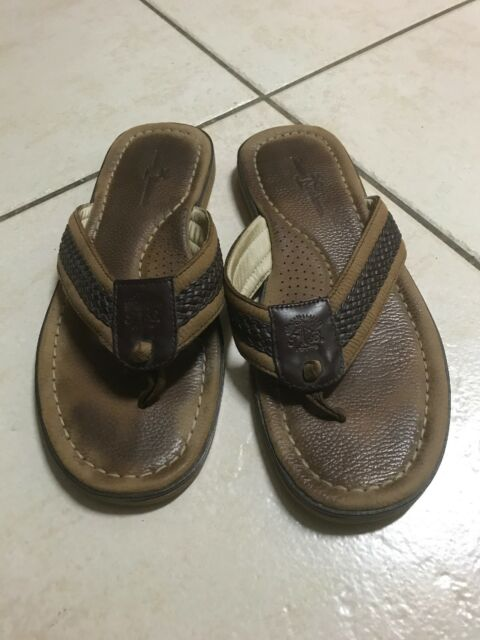 8b40a3c1b48 TOMMY Bahama Men's Brown/Tan Leather ANCHORED Flip Flop Sandals Shoes 13