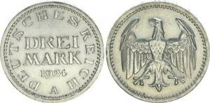 Alemania Weimar 3 Marco 1924A Plata (3) EBC 57336