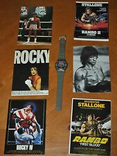 6 RARE POSTCARD MOVIE POSTERS: ROCKY & RAMBO WITH RAMBO WATCH - NEEDS BATTERIES