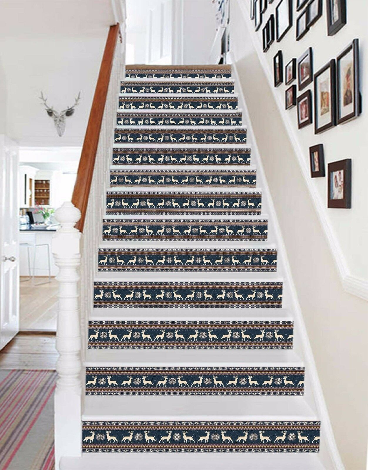 3D Hirsch 48 Stair Risers Dekoration Fototapete Vinyl Aufkleber Tapete DE Lemon