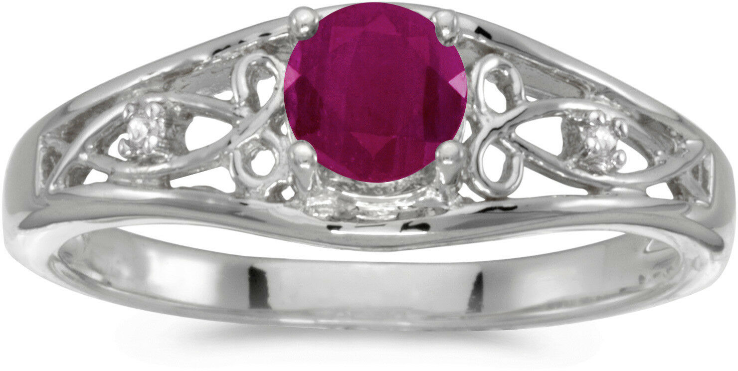14k White gold Round Ruby And Diamond Ring (CM-RM2587XW-07)