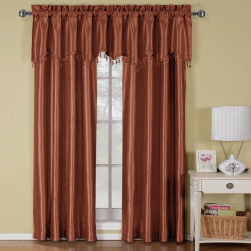 "Soho Faux Silk Window Treatment 42 x 63/"" Panel OR Valance 100/% Polyester"