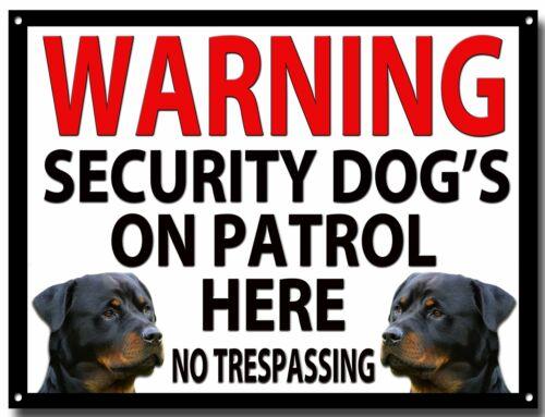 WARNING SECURITY DOG'S ON PATROL HERE ENAMELLED METAL SIGN,SECURITY,WARNING.