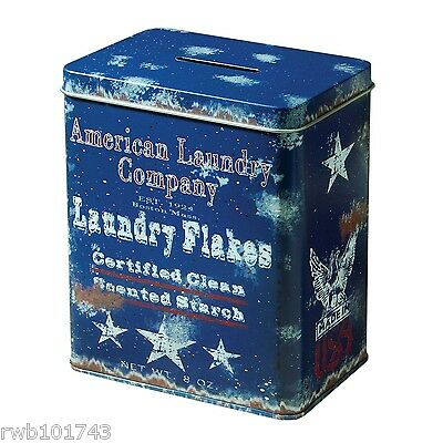 Laundry Flakes Coin Bank Tips TIN vintage soap prim rustic bath room home decor