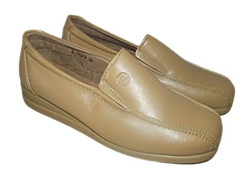 NEW LADIES CASUAL CAMEL LEATHER LINED COMFORT FLAT SHOES LOAFERS WORK SZ 3-8