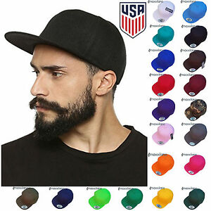 Baseball Cap Mens Plain Solid Blank Snapback Hat New Classic Black Hip Hop Style