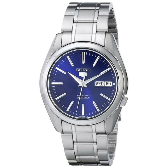 e8b928849 Seiko 5 Automatic 7s26 Blue Dial 37mm Watch SNKL43K1 With Leather Strap