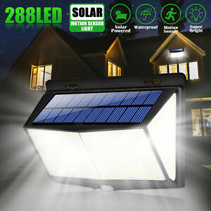 Outdoor 288 LED Solar Wall Lights Power PIR Motion Sensor Garden Yard Path Lamp