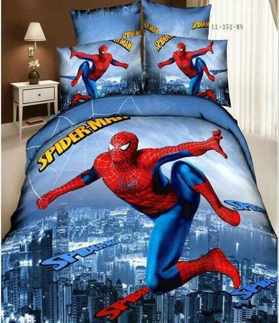 Fashion New Cartoon Spider-Man Bedding Set Queen Size Pillows Bed Sheet Hot 75b