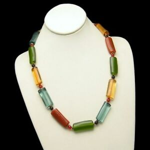 Brightly-Colored-Long-Lucite-Tube-Beads-Necklace-Vintage-Very-Unique