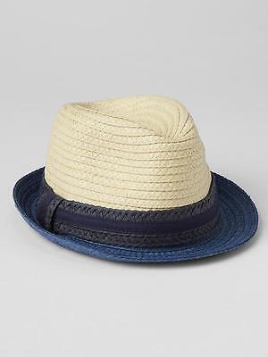 Navy Blue Fedora Straw Beach Sun Hat L Tan Toddler Boys Size M GAP Baby