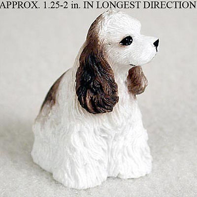 Cocker Spaniel Mini Resin Dog Figurine Statue Hand Painted Brown/White