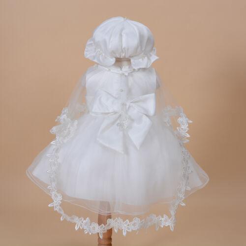 cape bonnet en blanc ivoire 0 3 6 12 18 24 mois Nouveau bébé baptême robe de soirée