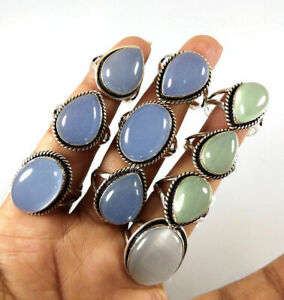 10 Pcs Wholesale Lot Chalcedony Gemstone 925 Sterling Solid Silver Ring BR-12