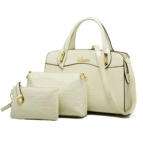 Women Crocodile Pattern Handbag Shoulder Bag Composite Bag Three Piece Suit