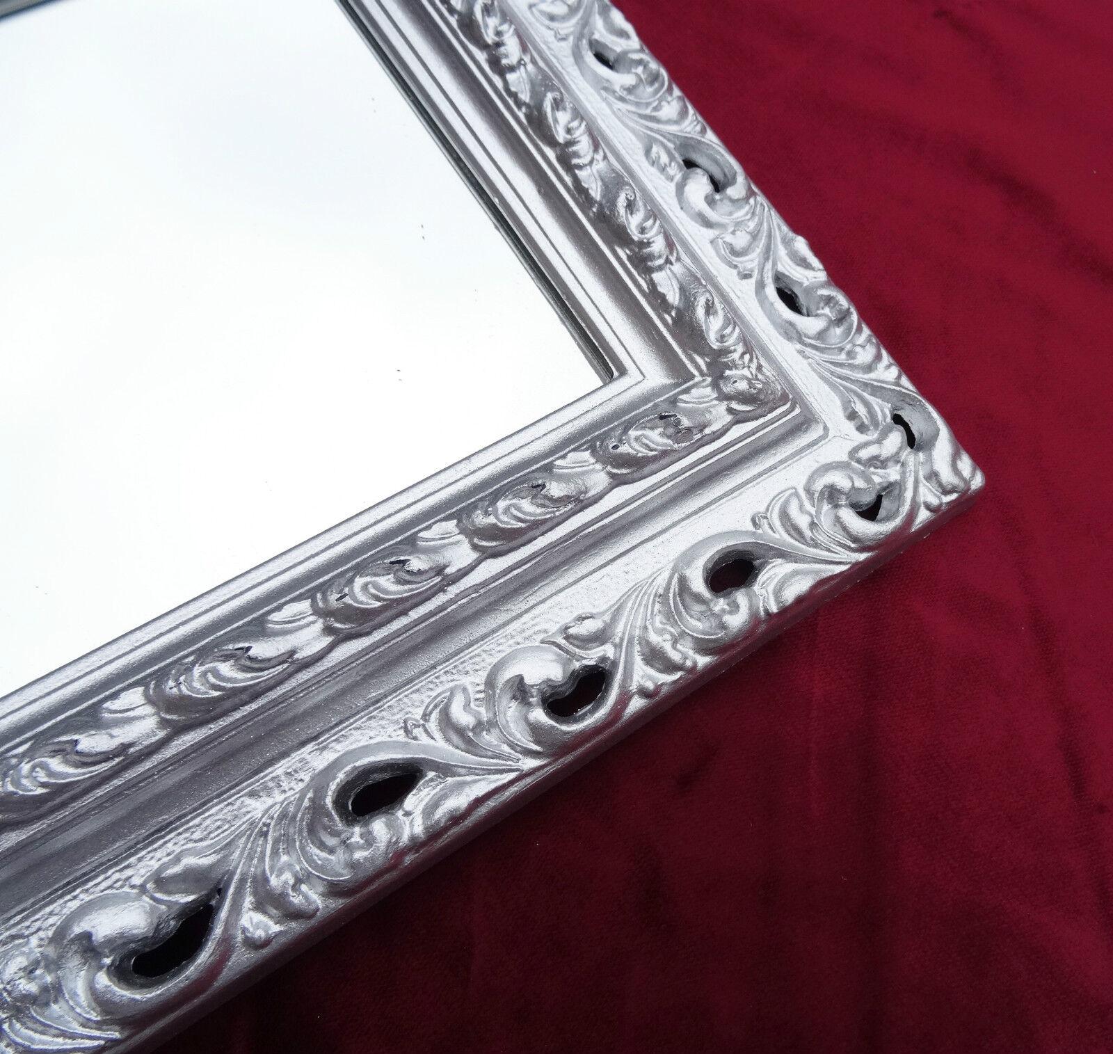 wandspiegel 43x36 spiegel barock rechteckig repro silber bilderrahmen arabesco 2 ebay. Black Bedroom Furniture Sets. Home Design Ideas