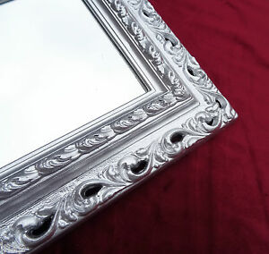 Wall-Mirror-43x36-Mirror-Baroque-Rectangular-Silver-Picture-Frame-Arabesco-2