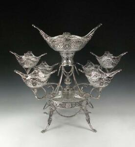 Sterling-Silver-Epergne-Hand-Made-Asprey-London-Stunning-7-Large-Baskets