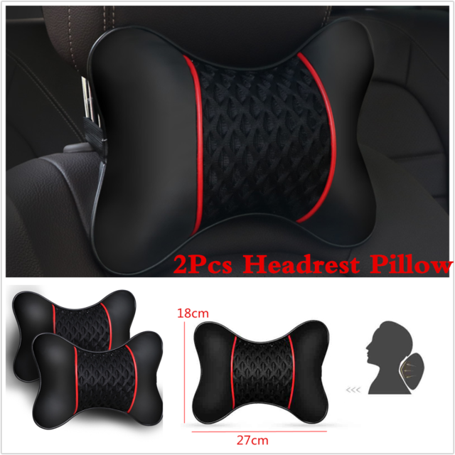2x PU leather Knitted Car Pillows Headrest Neck Cushion Support Seat Accessories