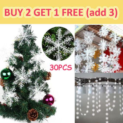 30PCS Winter Snowflakes Hanging Window XMAS Christmas Tree Festival Party Decor
