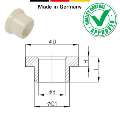 10x Buchsen lagerbuchsen abstandhalter hülse wellenlager mit bund kunststoff