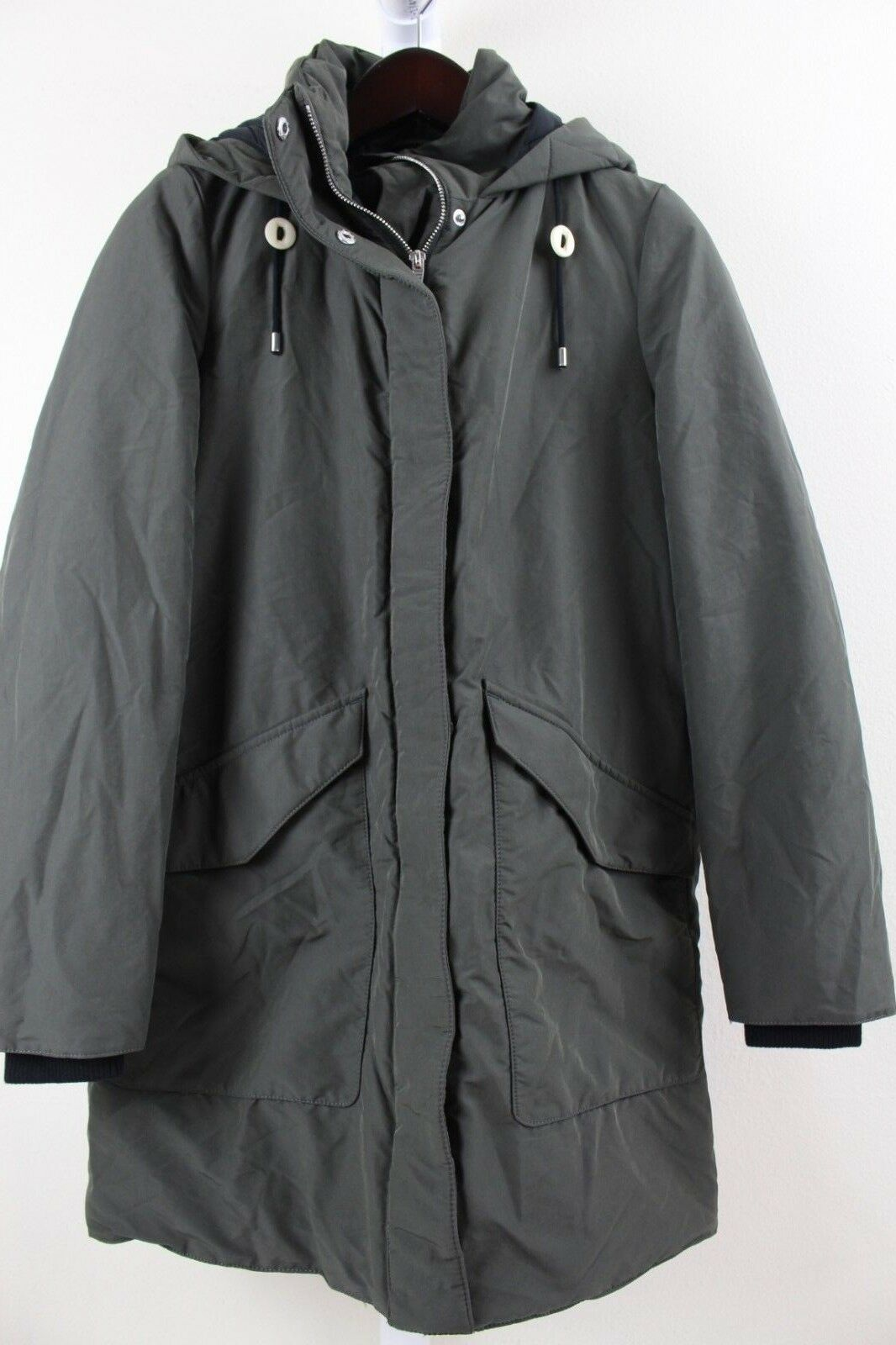 Zara Trafaluc 100% Polyester Hunter Green Lined & Filled Hooded Raincoat Size XS
