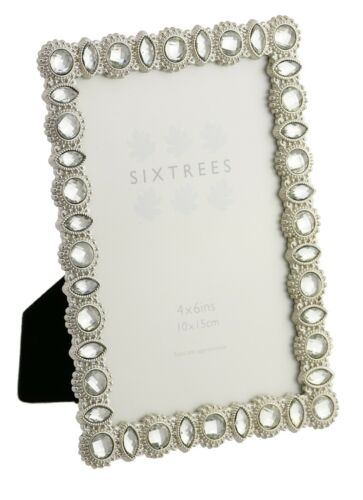 7x5 inch pictures. 6x4 Vintage Ornate silver photo frames beads /& crystals 4x4