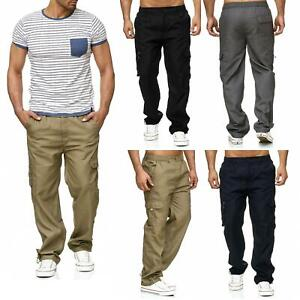 New-Mens-Lightweight-Elasticated-Cargo-Trousers-Combat-Work-Pants-Bottoms-M-XXL
