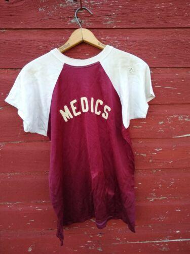 Vintage 40s/50s Rayon Baseball Jersey Medics Milit