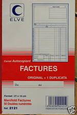 FACTURIER - CARNET DE 50 FACTURES AVEC DOUBLE - ELVE - 21x14 cm