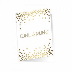 5-edle-Klapp-Einladungskarten-Punkte-Gold-inkl-5-weissen-hochw-Briefumschlaegen