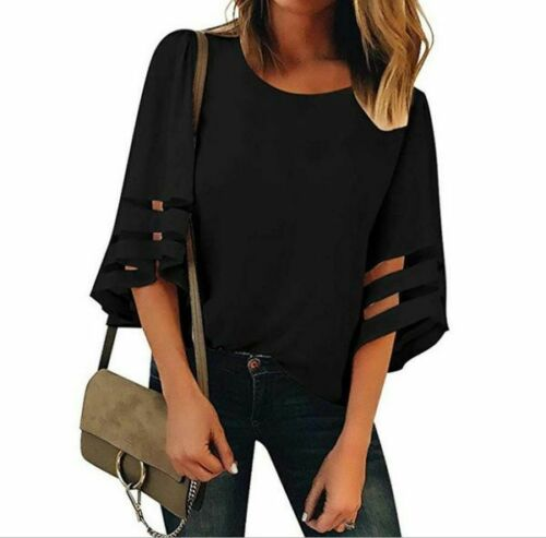 Blouse Solid Loose Long Sleeve Top Floral V Neck Elegant Fashion T-Shirt Womens
