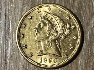 5 Dólar 1899 S Ee.uu. Oro (# D77 #)