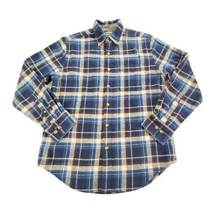 Eddie-Bauer-Men-039-s-Relaxed-Fit-Blue-Plaid-Button-Down-Long-Sleeve-Flannel-Shirt