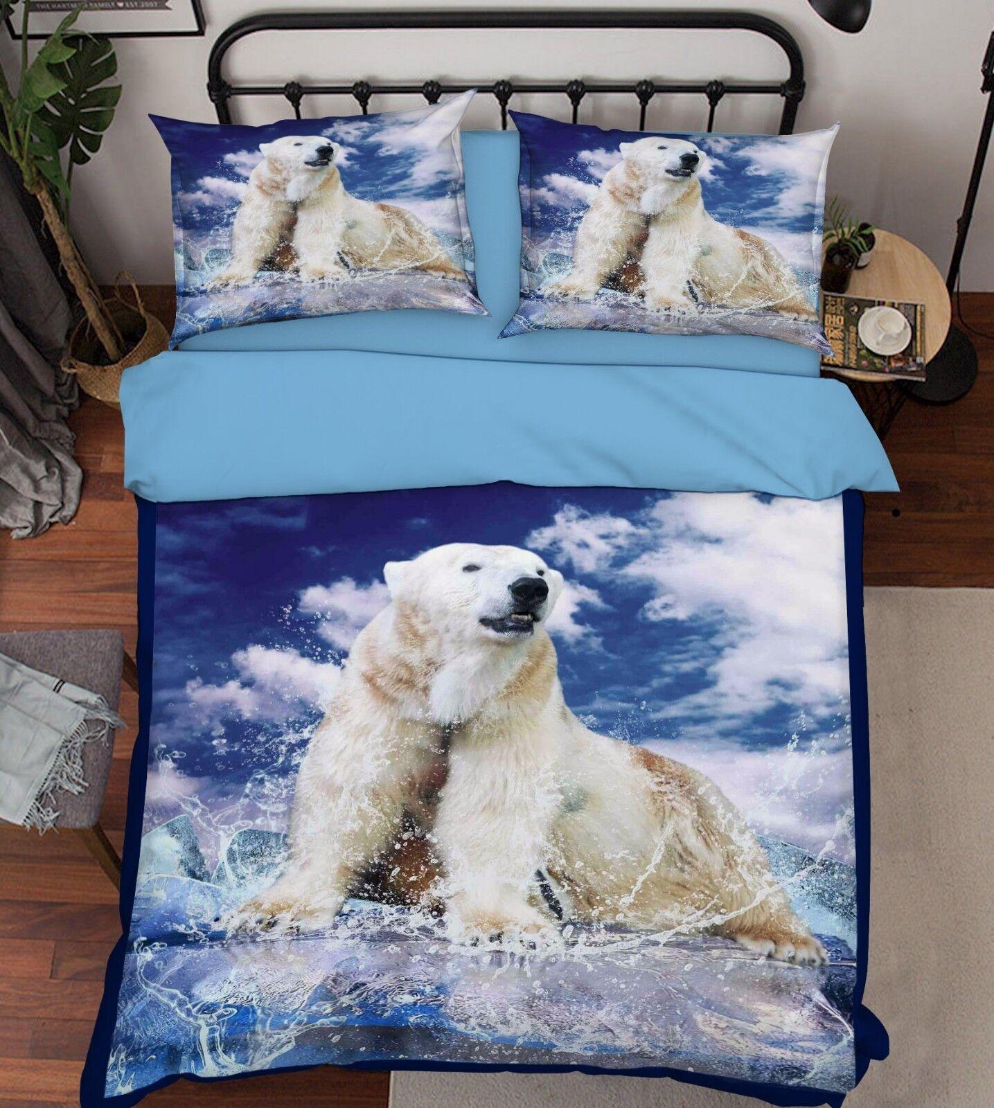 3D Sky Polar Bear 857 Bed Pillowcases Quilt Duvet Cover Set Single Queen King CA