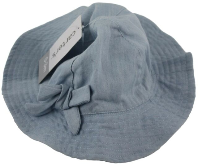 34e7f2a6704ca Carters Baby Girl Light Blue Denim Hat Chin Strap Size 0-3 Months  Accessories