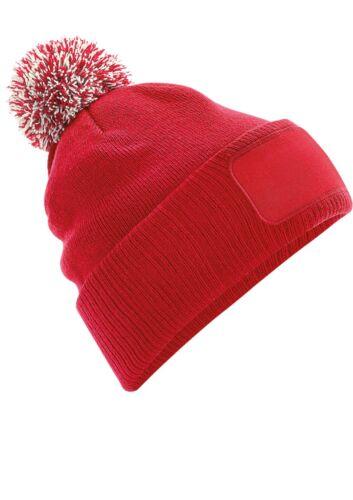 Personalised Beechfield Beanie Unisex warm winter Pom Pom hat Custom printed