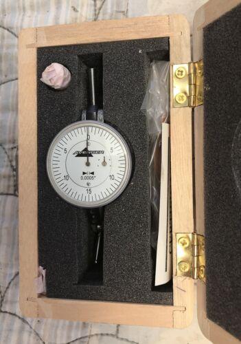 "Graduation: 0.0005/'/'  Range: 0.060/"" Swiss Type Vertical Dial Test Indicator."