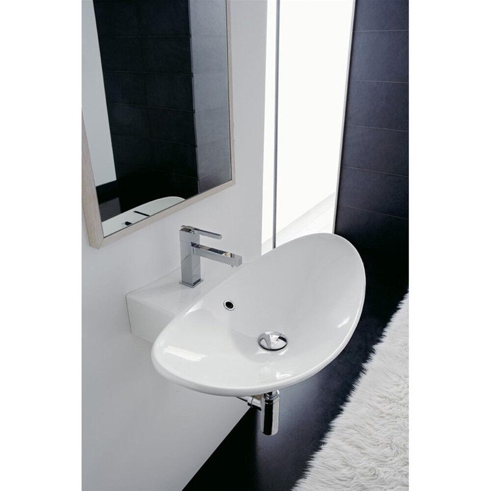 Lavandino Lavabo bagno appoggio sospeso Design Zefiro in ceramica - 3 Misure