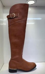 WOMENS-LADIES-FAUX-LEATHER-CAMEL-OVER-KNEE-HIGH-LOW-HEEL-CASUAL-BOOTS-SIZE-8