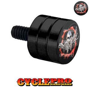 Double Grooved Black Billet Fender Seat Bolt Harley SKULL FINGER FU RD - 080
