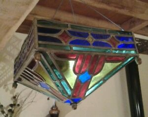 ancien lustre vitraux art deco luminaire a restaurer. Black Bedroom Furniture Sets. Home Design Ideas