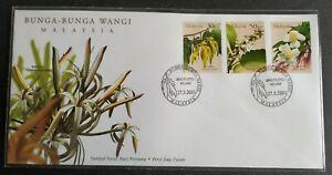 2001-Malaysia-Scented-Flowers-Bunga-Wangi-3v-Stamps-FDC-Melaka-Lot-C