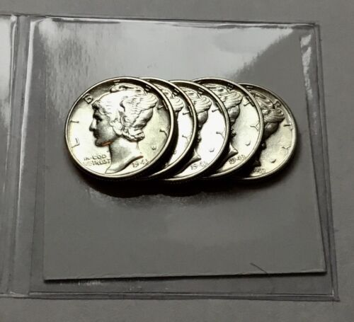 Brilliant Uncirculated Lot Of 5 BU 1943-D Mercury Dimes US 90/% Silver Coins