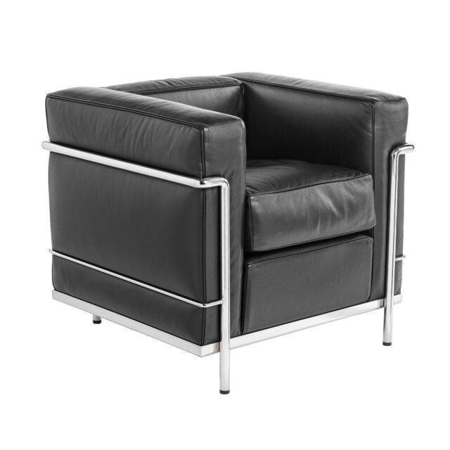 Cassina Le Corbusier Lc2 Sessel Leder Y Gruppe X Schwarz Lounge