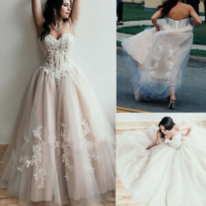 Details about New Strapless Sweetheart Beaded Applique Wedding Dresses Plus  Size Bridal Gown