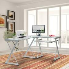 Techni Mobili L Shaped Tempered Glass Top Computer Desk With Pull Out Keyboard T
