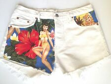 "Vtg White Levi 501 Denim Cut Off Shorts, High Waist, Sz 16 W 34""  Pin-Up 40's"