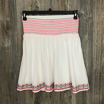 Flight Tracker Camayeu Women's 6 Lined Tan/neon Pink Aztec Print Elastic Waist Cotton Skirt Women's Clothing Clothing, Shoes & Accessories