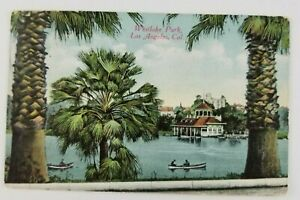 Postcard-Westlake-Park-Los-Angeles-California-Canoe-Boats
